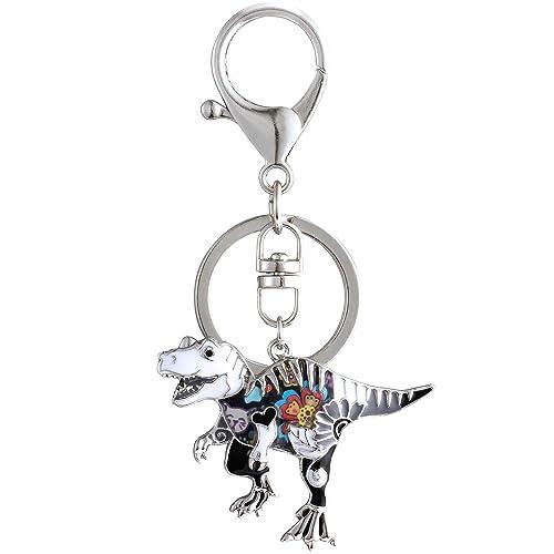 Luckeyui Personalized Dinosaur Keychain Gift for Women Black Enamel  Tyrannosaurus Rex Keyring 66ad3a81c5