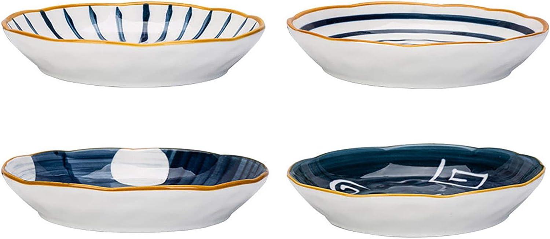 MDZF SWEET HOME 8-Inch Deep Porcelain Dinner Plates Set Pizza Pasta Bowls Serving Plates Salad Dessert Bowls Japanese Style Tableware, Set of 4