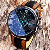 Men's Wristwatches Analog Sport Steel Case Quartz Dial Leather Band Wrist...