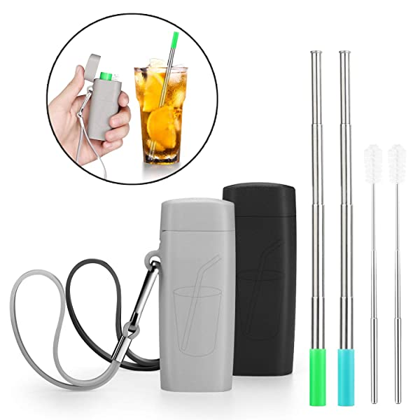 Vantic Portable Reusable Metal Straws- Telescopic Stainless Steel Travel Metal Straw with Carrying Case & Silicone Flex Tip, Cleaning Brush, 2 Pack(Black & Gray) (Color: Black&gray)