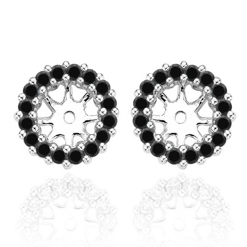 0.30 Carat Black Diamond Halo Solitaire Earrings Jackets 14K White Gold For 5 MM(1.00 Carat TCW Earrings)