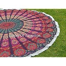 """Handicrunch Hippie Mandala Tapestry Round Roundie Wall Hanging Beach Towel Throw Yoga Mat Round Tapestry 72"""""""