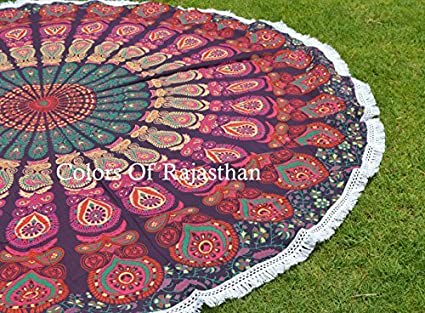 The COR's Hippie Mandala Tapestry Round Roundie Wall Hanging Beach Towel