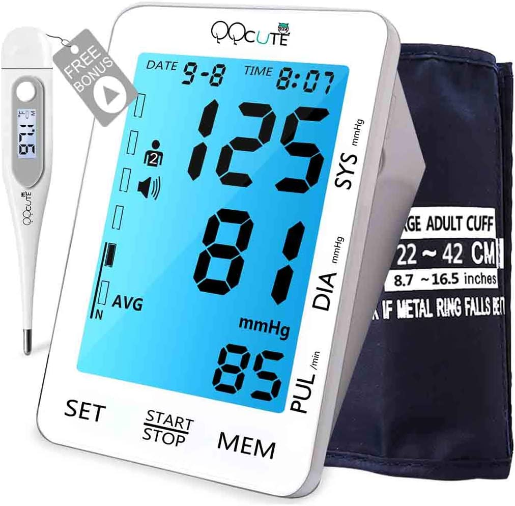 QQCute Automatic Digital Blood Pressure Monitor, Professional and Accurate BP Monitor with Backlit LCD Touchscreen Display, Large Cuff Fits Standard and Large Arm and Upper Arm