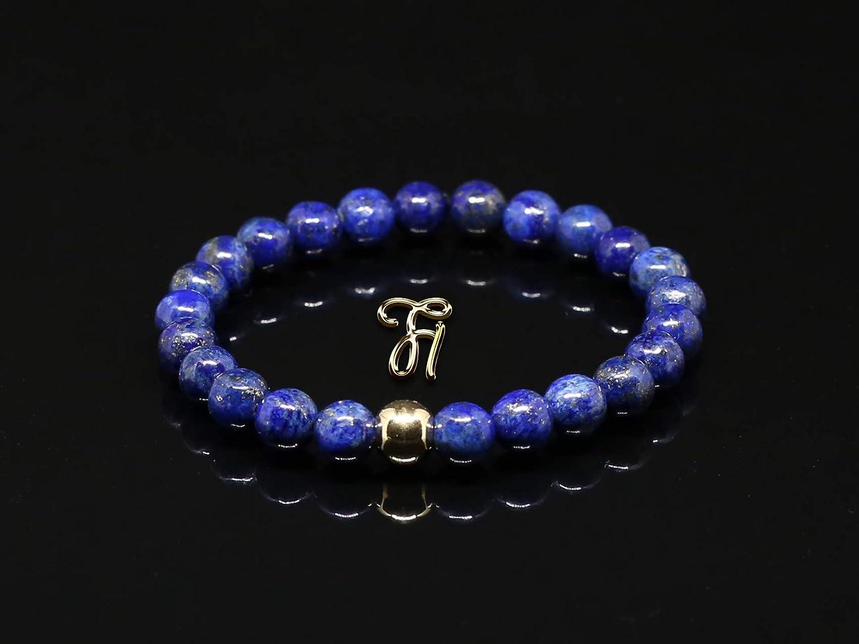 Lapislazuli 925er sterling Silber vergoldet Armband Bracelet Perlenarmband blau 8mm