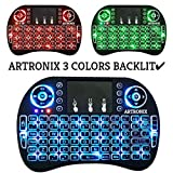 【 2018 Newest Version 3 Colors Backlit 】ARTRONIX 2.4GHz Multi-media Portable Wireless Mini Keyboard with Touchpad Mouse i8+ Backlight for Raspberry Pi , XBox 360, PS3 , Windows 7 8 10 , PAD , Android TV Box , IPTV , HTPC Backlight