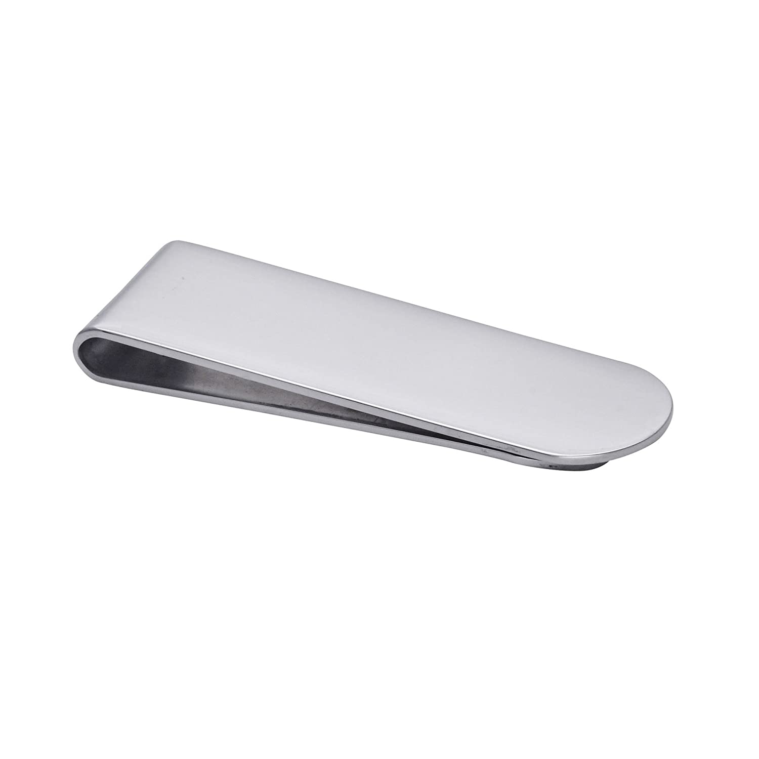 81stgeneration Womens Mens Stainless Steel Plain Smooth Card Holder Money Clip