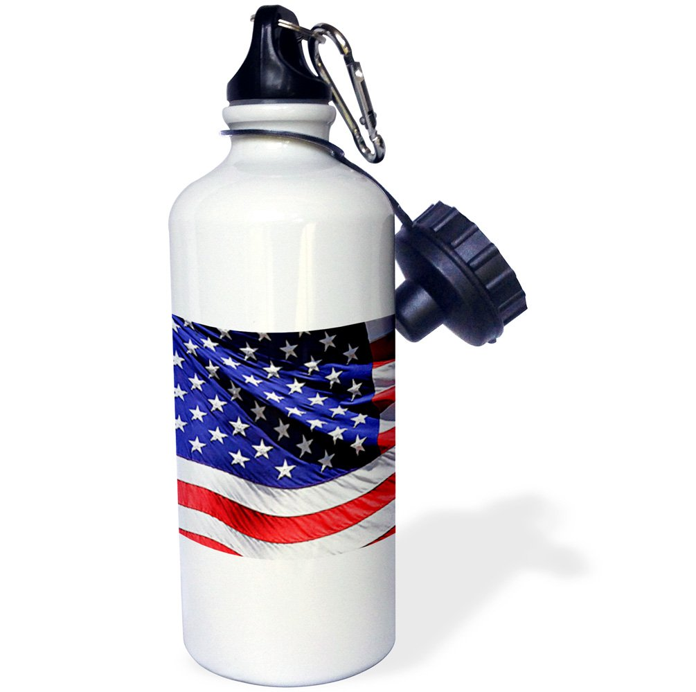3dRose wb/_21652/_1 American Flag Sports Water Bottle 21 oz White