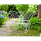 """Plow & Hearth Weather-Resistant Butterfly Garden Bench, Metal - White - 60¼""""L x 17¾""""D x 39½""""H"""