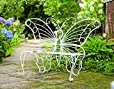 "Cheap Plow & Hearth Weather-Resistant Butterfly Garden Bench, Metal – White – 60¼""L x 17¾""D x 39½""H"