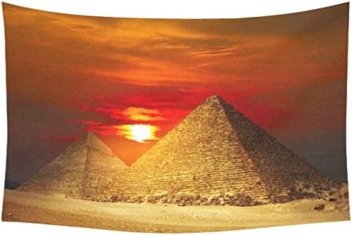 INTERESTPRINT City Landscape Wall Art Home Decor, Egyptian Pyramids in Giza Valley Under Sunset Tapestry Wall Hanging Art Sets 60 X 40 Inches