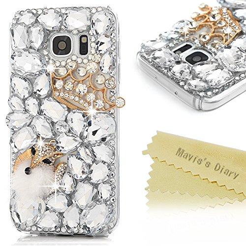 S7 Case,Samsung Galaxy S7 Case - Mavis's Diary 3D Handmade Bling Cute Diamond Crown and Fox with Fluff Shiny Sparkle Crystal Diamonds Rhinestone [Full Edge Protection] Clear Hard PC Cover