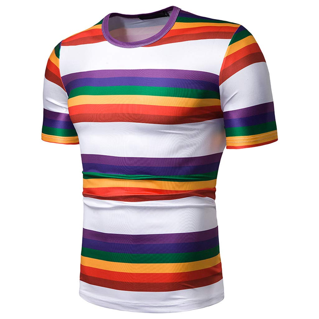 Xiloccer Summer Short Top Blouse Fashion Mens Casual Slim Multicolor Strip Patchwork