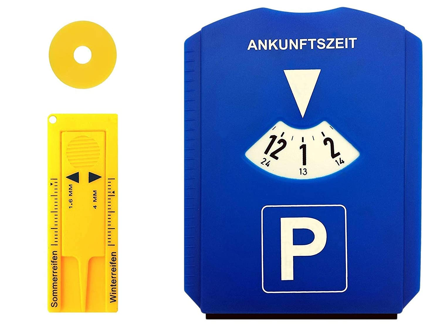 Gibtplus GP Car Parking Disc EU with Tyre Tread Depth Gauge and Shopping Trolley Token