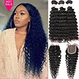 3 Bundles Deep Wave Virgin Human Hair with Lace Closure Unprocessed Human Hair Extensions Natural Black Color(22 24 26+20)