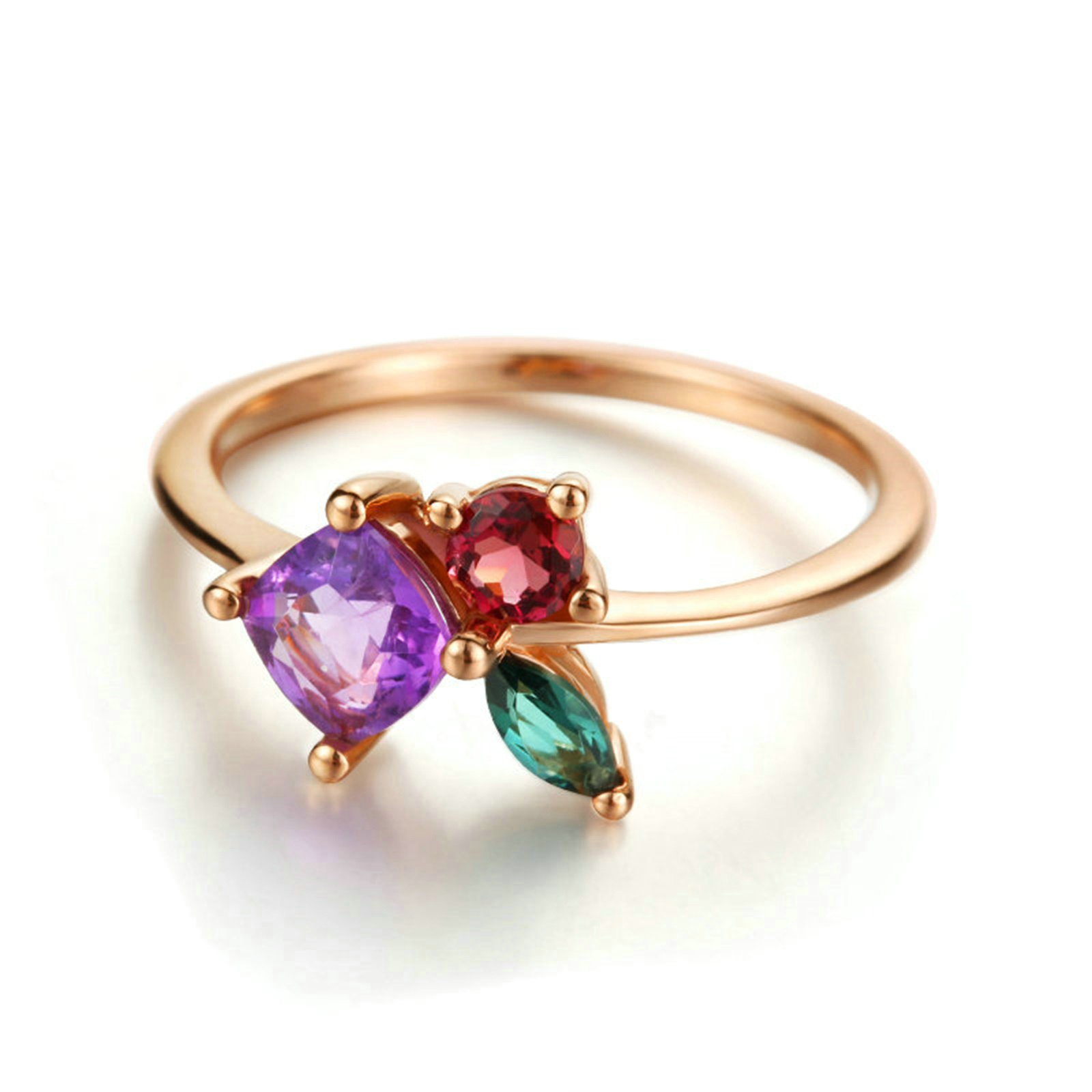18K Gold Ring(Au750) Green And Pink Tourmaline Ring Amethyst Ring Wedding Engagement Ring for Women Bride Size 6