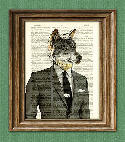 The Wolf of Wall Street Gray Wolf in a suit illustration beautifully upcycled dictionary page book art print