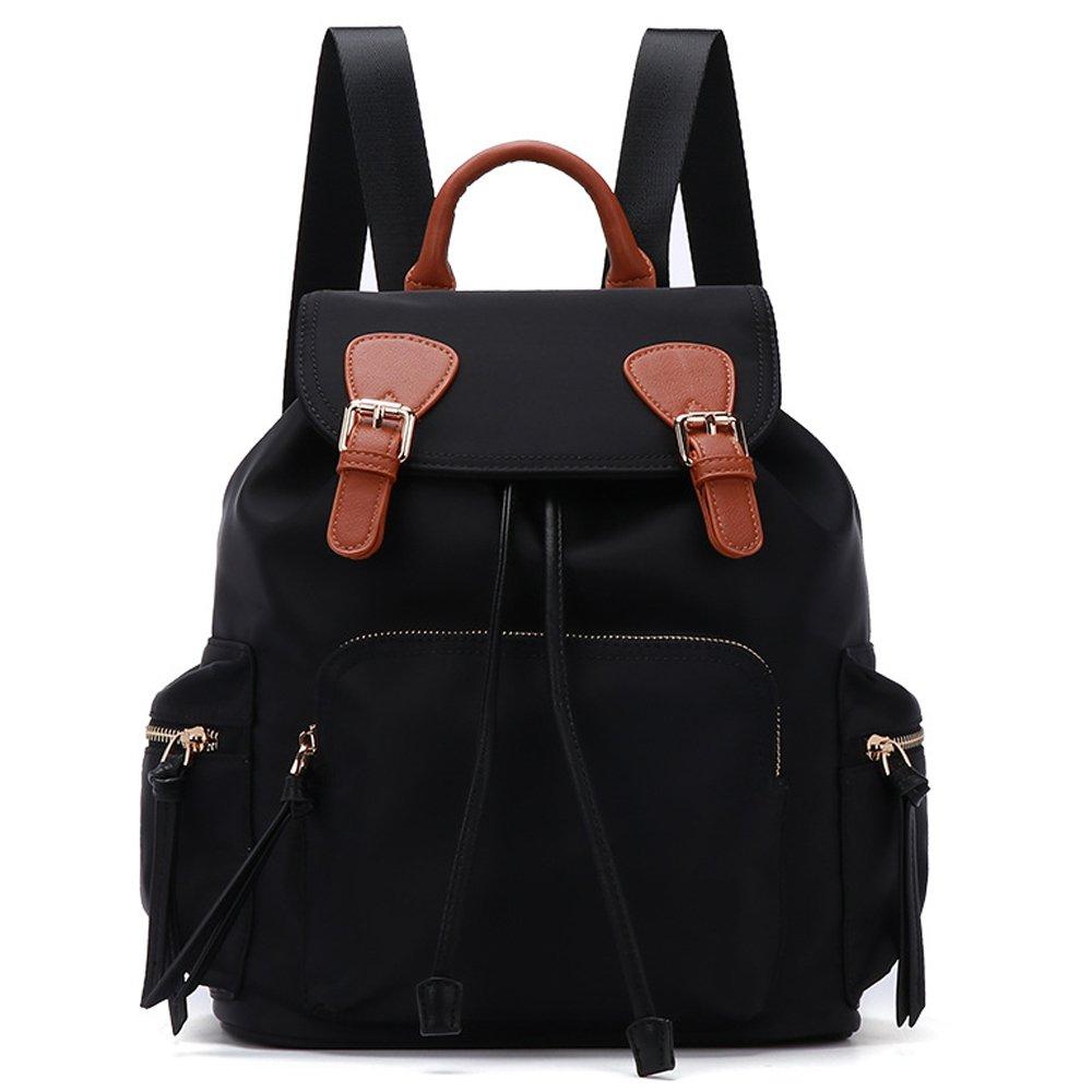 Gerosse Fashion Nylon Backpack Purse Travel for Women, Designer School Backpacks Waterproof Bookbags (Black_Brown) by Gerosse