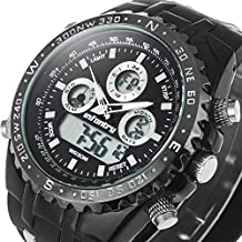 INFANTRY Men's Big Face Analog-Digital Military Watch Stopwatch Timer Alarm Sports Balck Rubber Band