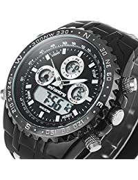 INFANTRY Big Face Mens Digital Sport Watch Black Military Wrist Watches for Men Rubber Band