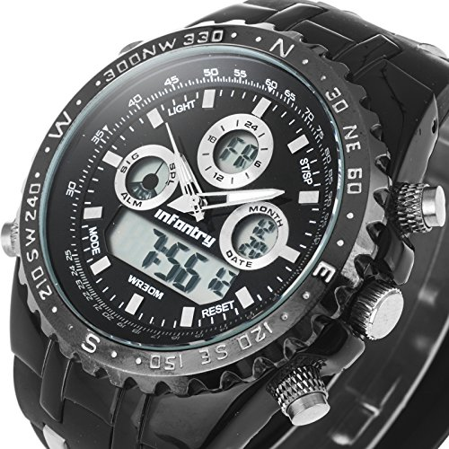 INFANTRY Mens 50mm Big Face Sports Watch Large Military Digital Wrist Watches...