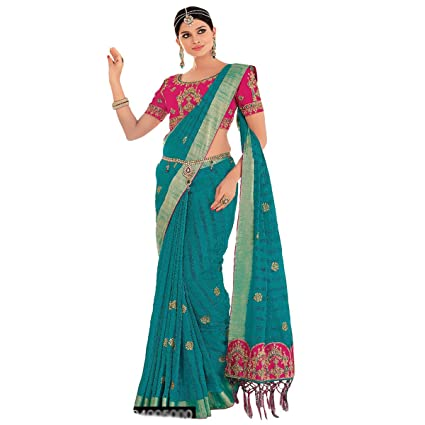 Amazon.com: Green Ethnic Silk Traditional Formal Saree Zari ...