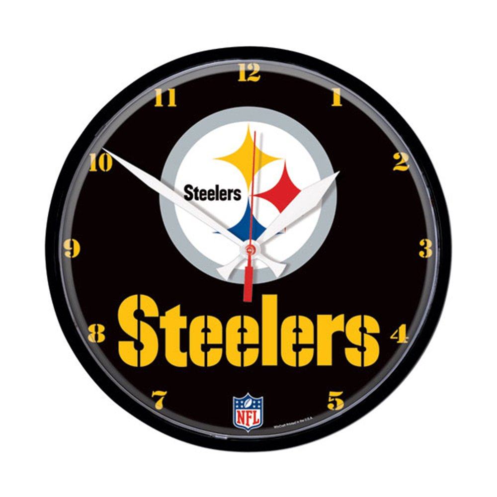 Amazon pittsburgh steelers round clock sports fan wall amazon pittsburgh steelers round clock sports fan wall clocks sports outdoors amipublicfo Gallery