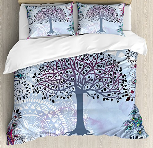 Ambesonne Nature Duvet Cover Set, Cute Tree of Life Motif with Peacock Feathers Tribal Vintage Primitive Nature Illustration, 3 Piece Bedding Set with Pillow Shams, Queen/Full, Blue