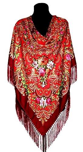 Chal , bufanda pintura rusa ,mujer,110cmx110cm+cepillos 12cm, 80%lana20 viscosa