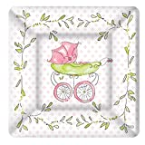 Boston International 8 Count Rosanne Beck Square Paper Dessert Plates, Pink Baby Carriage