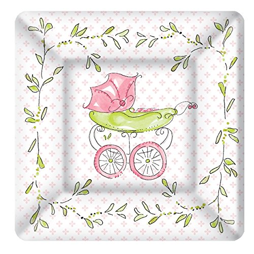 Boston International 8 Count Rosanne Beck Square Paper Dessert Plates  Pink Baby Carriage