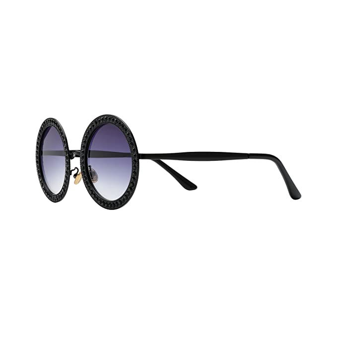 2227b87424 ROYAL GIRL Round Sunglasses Women Oversized Metal Frame With Crystal Vintage  Shades Black Blue Lens