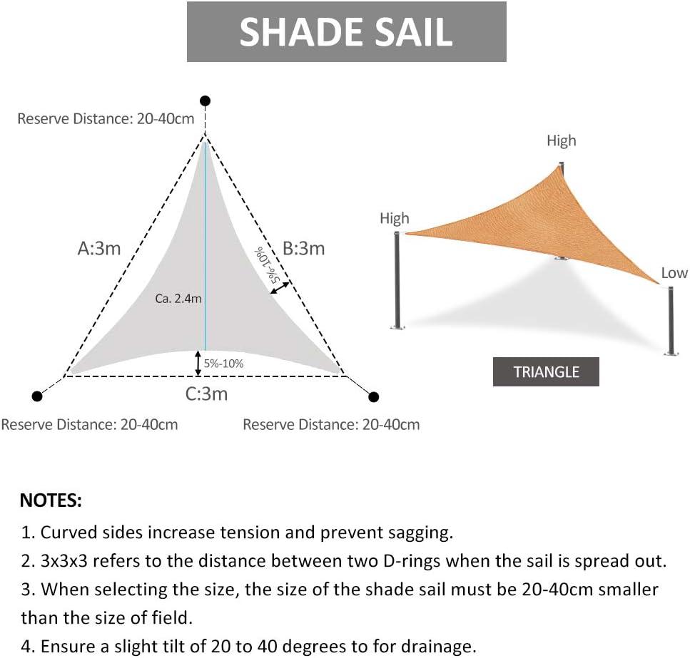 patio o patio Toldo rectangular de 2 x 3 m Halove protecci/ón contra los rayos UV lona de sombra de HDPE resistente transpirable terraza tela tensada exterior para jard/ín