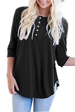 61a16e64a0a Kancystore Women's Casual Round Neck 3/4 Sleeve Tunic Tops with Buttons (Black,