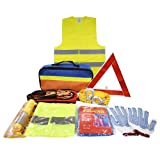 Car Auto Emergency Safety Tool Kits Euro Travel Roadside Assistance with Jumper Cables, Tow Rope, Emergency Triangle, Safety Hammer
