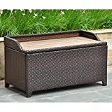 Cheap International Caravan Barcelona 40 in. Resin Wicker 60 Gallon Storage Deck Box with Faux Wood Top