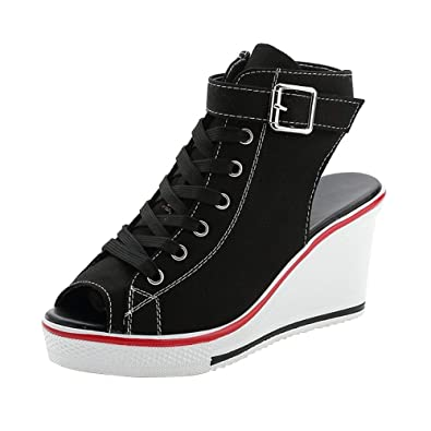 3732ecccb166a Women's Peep Toe Canvas Wedge Heeled Platform Fashion Sneaker Pump Shoes #4  Black Label 35