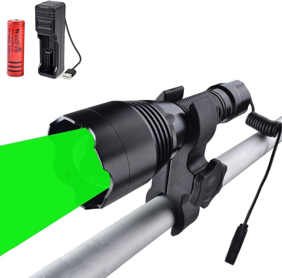 WESLITE Linterna T/áctica Potente 350 Yard Linterna de Caza de Alta Potencia Zoom 1 Modo con Interruptor de Presi/ón y Cargador de Bater/ía para Cazar Coyote Predator Varmint Linterna de Luz Verde