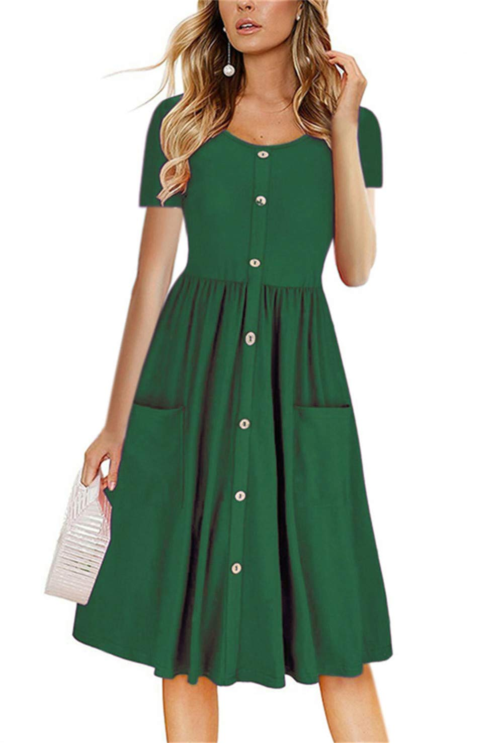 LAMISSCHE Womens Summer Casual Short Sleeve V Neck Button Down A-line Dress with Pockets(Green,M) by LAMISSCHE