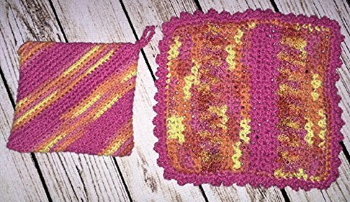 Brighten your kitchen with 100% cotton fiesta themed potholder and dishcloth. Companion to Fiesta Bright Hanging Kitchen Towels.