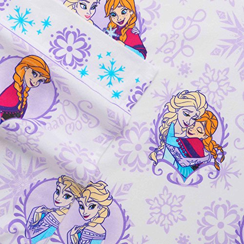 Disney Frozen Full Size Heavyweight 4-Pc Flannel Sheet Set, Purple, Anna & Elsa