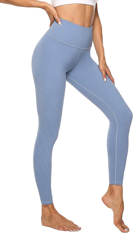 Sport Leggins Damen Sporthose mit Atmungsaktiven L/öchern /& Innentaschen JOYSPELS Leggings Damen