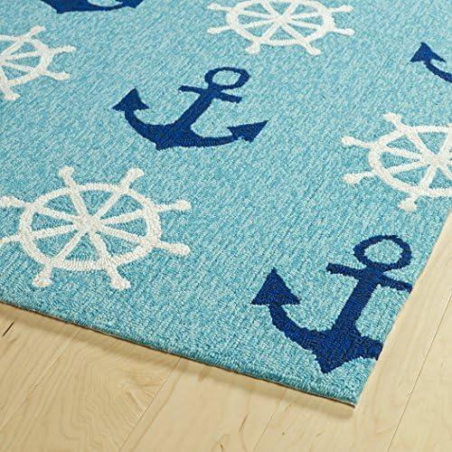 Kaleen Rugs Sea Isle Collection SEA06-17 Blue Handmade 5 x 7 6 Rug