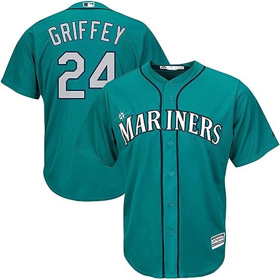 Unisex Spiel Jersey Mariners # 24 Griffey Baseball-Trikot mit Kn/öpfen Re-waschbar