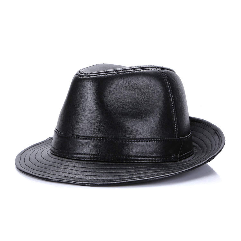 Winter Autumn 100/% Sheep Leather Fedoras Top Jazz Hat European American Round Caps Bowler Hats for Men /& Women