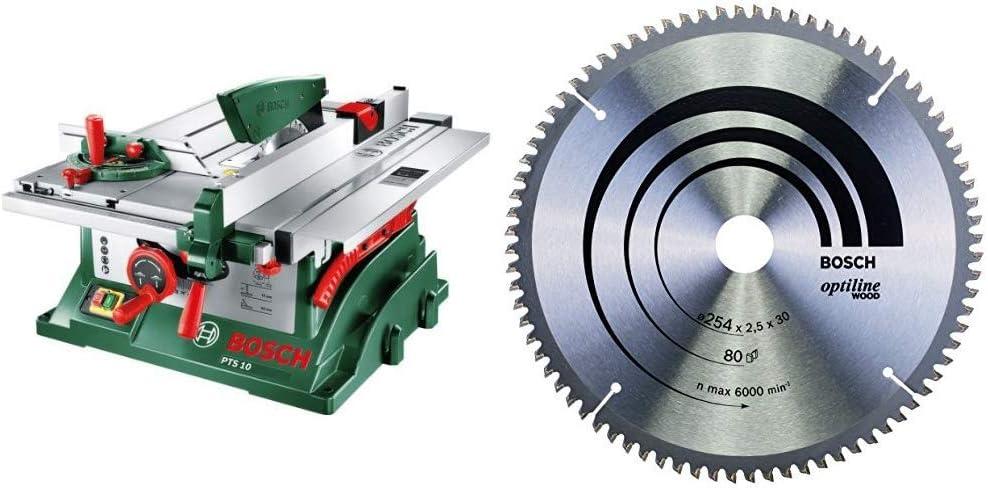 Bosch PTS 10 - Sierra circular de mesa en caja de cartón + Bosch 2 608 640 437 - Hoja de sierra circular Optiline Wood (254 x 30 x 2,5 mm, 80): Amazon.es: Bricolaje y herramientas