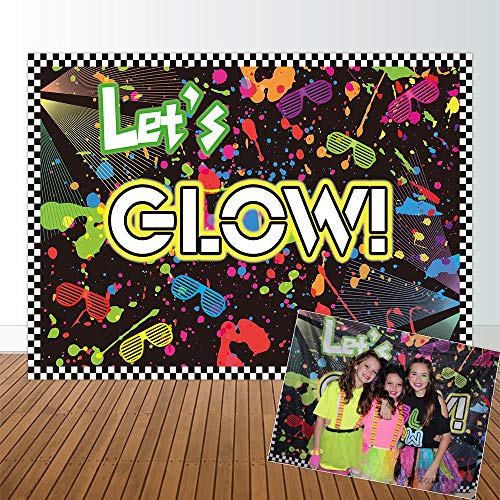Allenjoy 7x5ft Let's Glow in the Dark Theme Birthday Backdrop for Adult's Teen Blacklight Tween Neon Doodle Disco Rainbow Sleepover Party Event Table Decor Banner Background Children Photo Booth Shoot -