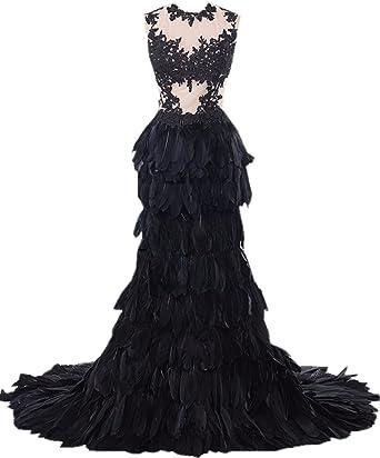 Heartgown Women S Sheer Lace Feather Ruffles Sweep Train Organza Gothic Wedding Dress At Amazon Women S Clothing Store