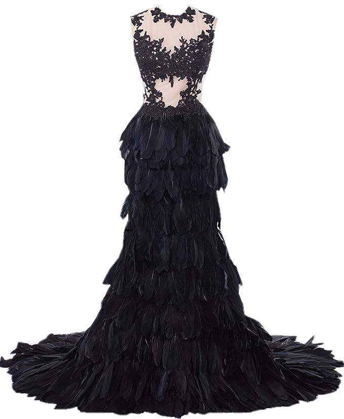 Heartgown Women\'s Sheer Lace Feather Ruffles Sweep Train Organza ...