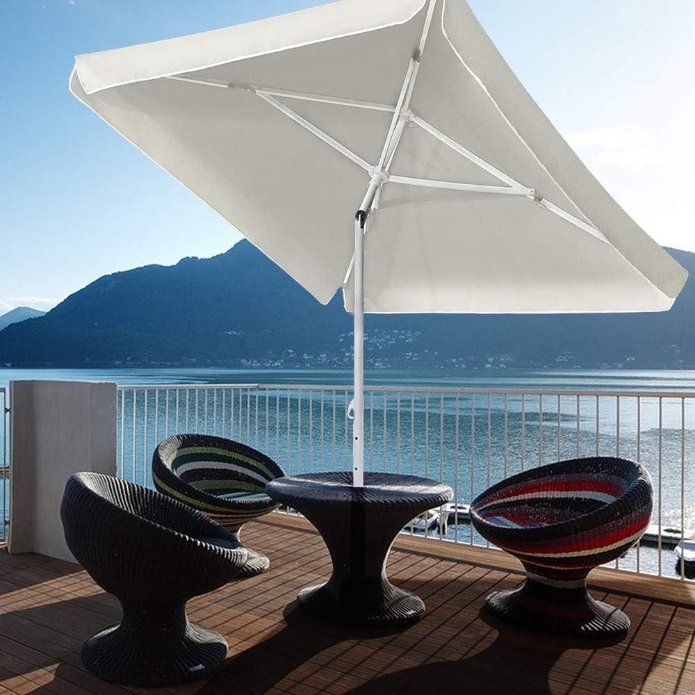 UISEBRT Sombrilla para playa beige 200 x 125 cm, rectangular, protecci/ón UV 50+